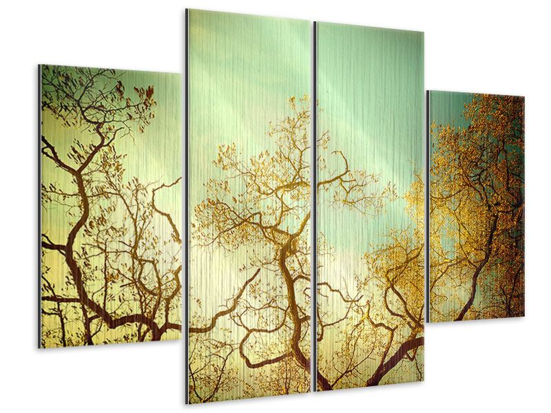 Metallic-Bild 4-teilig Bäume im Herbst