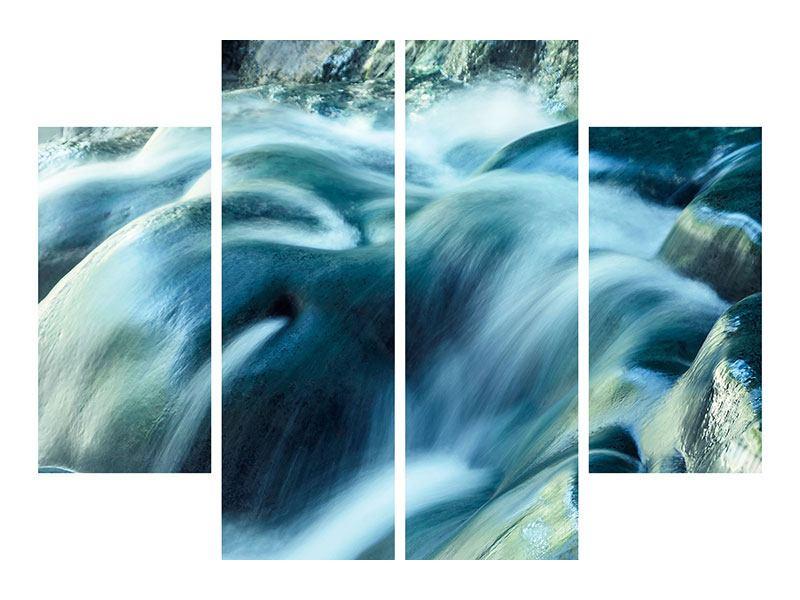 Metallic-Bild 4-teilig Das Fliessende Wasser