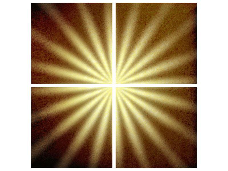 Metallic-Bild 4-teilig Abstrakte Sonnenstrahlen