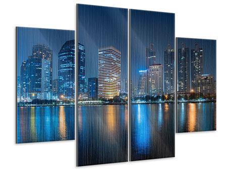 Metallic-Bild 4-teilig Skyline Bangkok bei Nacht