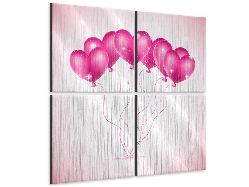 Metallic-Bild 4-teilig Herzballons