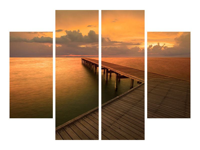 Metallic-Bild 4-teilig Der Steg am Meer