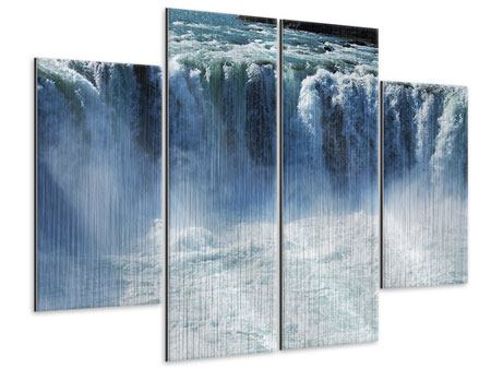 Metallic-Bild 4-teilig Mächtiger Wasserfall