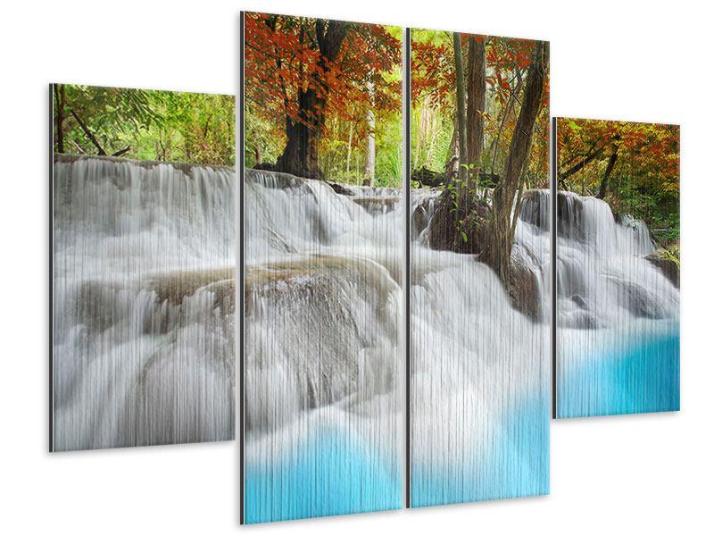 Metallic-Bild 4-teilig Erawan Wasserfall
