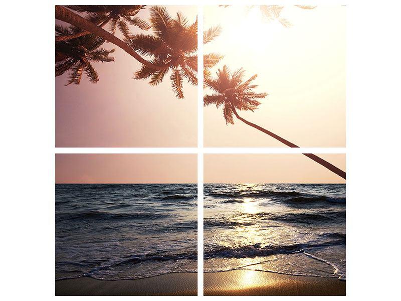 Metallic-Bild 4-teilig Am Meer