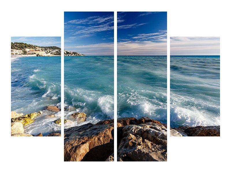 Metallic-Bild 4-teilig Cote D`Azur
