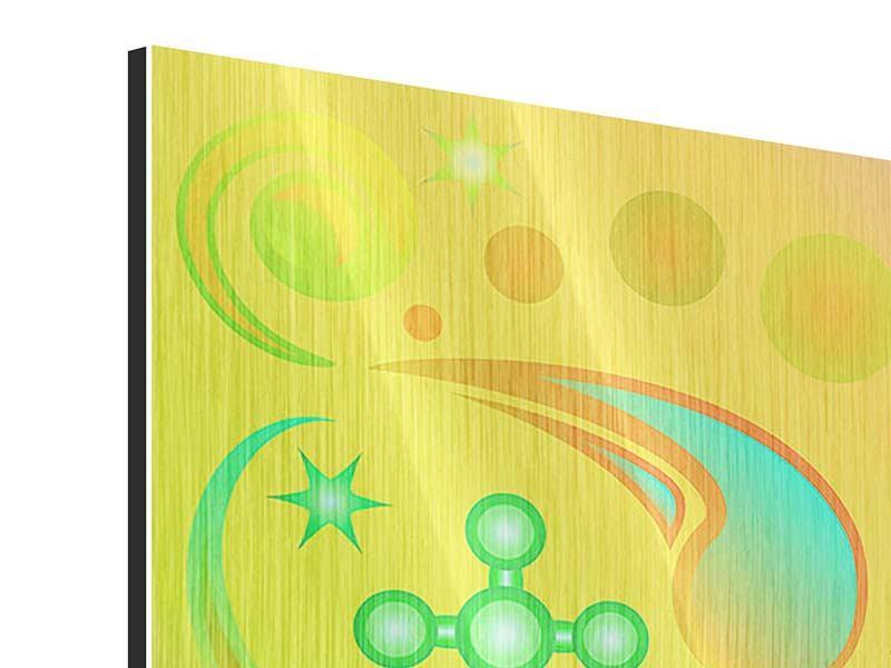 Metallic-Bild 4-teilig Flower Power