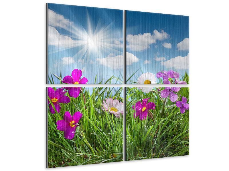 Metallic-Bild 4-teilig Blumenwiese