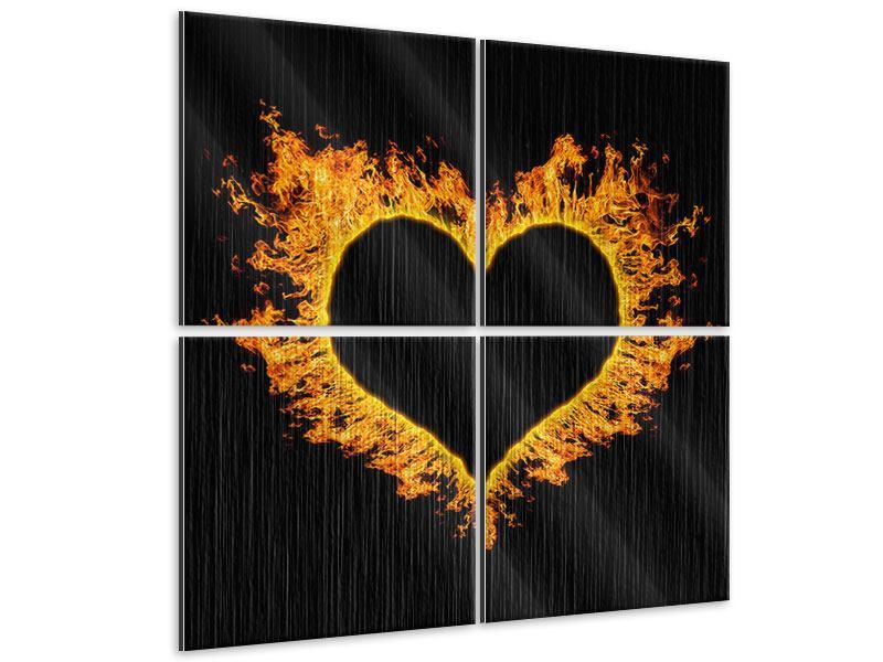 Metallic-Bild 4-teilig Herzflamme