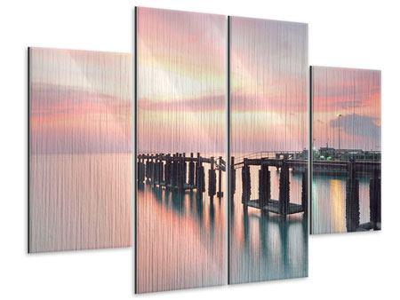 Metallic-Bild 4-teilig Der beruhigende Sonnenuntergang