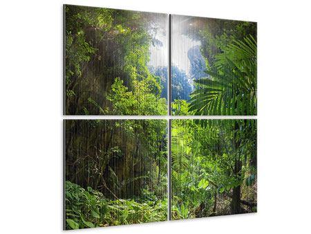 Metallic-Bild 4-teilig Lichtung im Dschungel