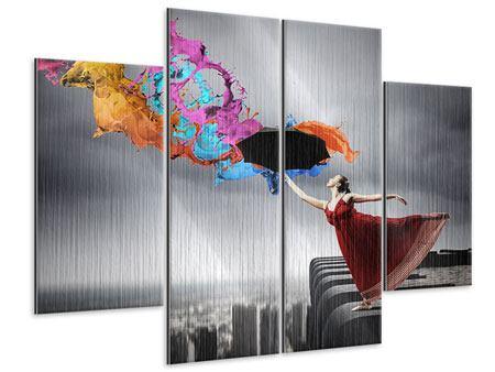 Metallic-Bild 4-teilig Tanz auf dem Wolkenkratzer