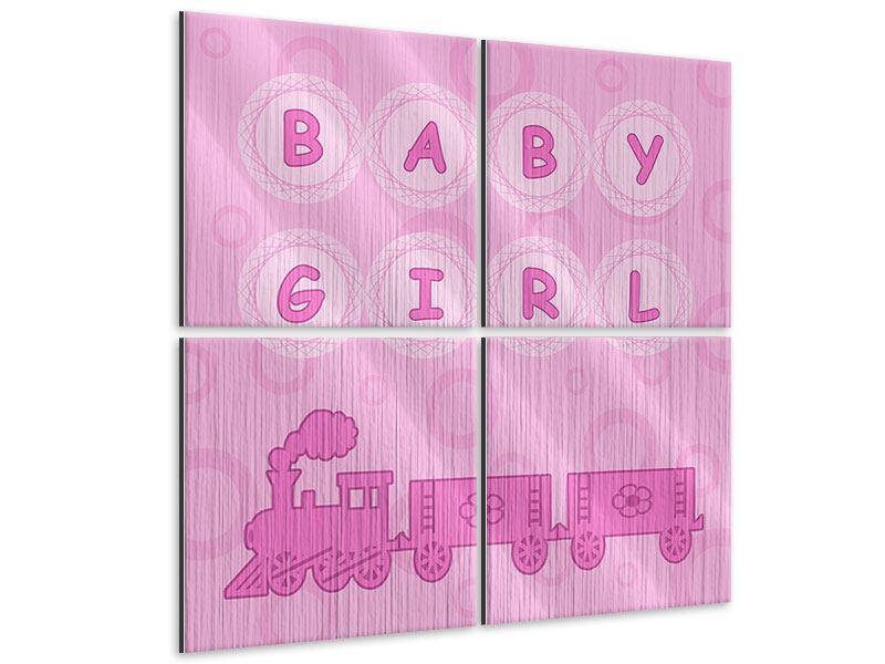 Metallic-Bild 4-teilig Baby-Girl