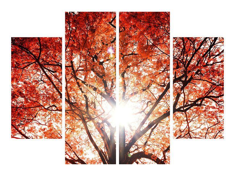 Metallic-Bild 4-teilig Herbstlicht