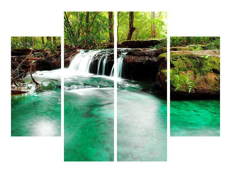 Metallic-Bild 4-teilig Der Fluss am Wasserfall