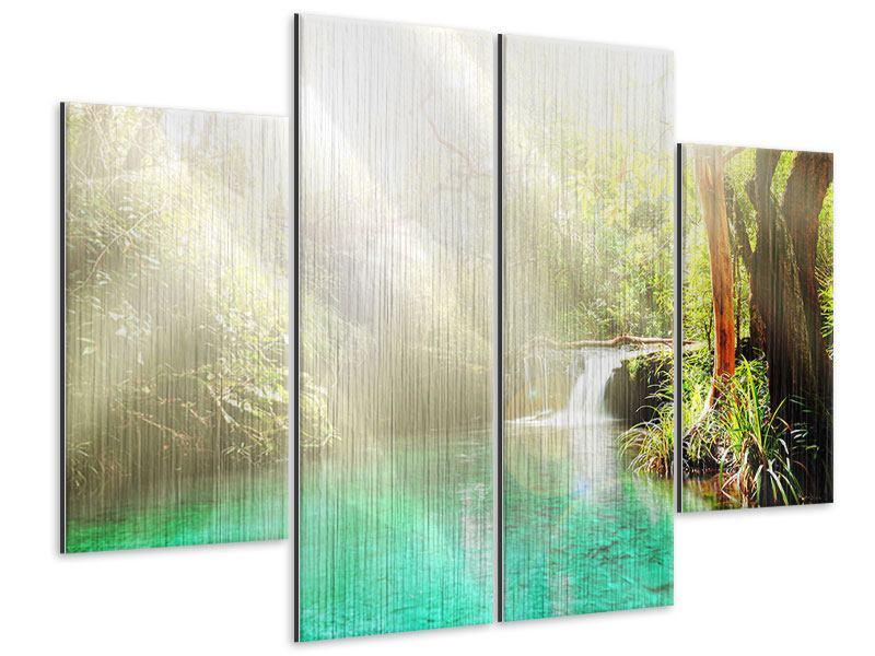 Metallic-Bild 4-teilig Die grüne Lagune