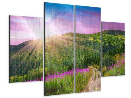 Metallic-Bild 4-teilig Eine Sommerlandschaft bei Sonnenaufgang