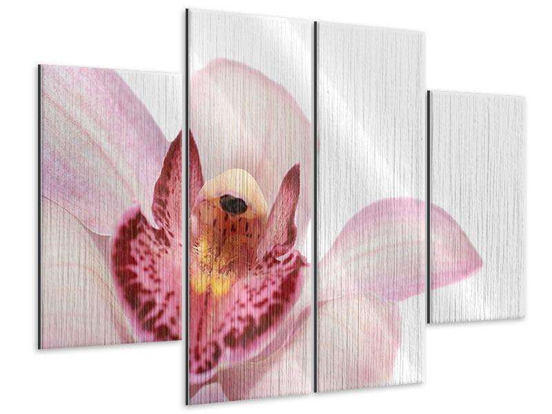 Metallic-Bild 4-teilig Orchideenblüte XXL