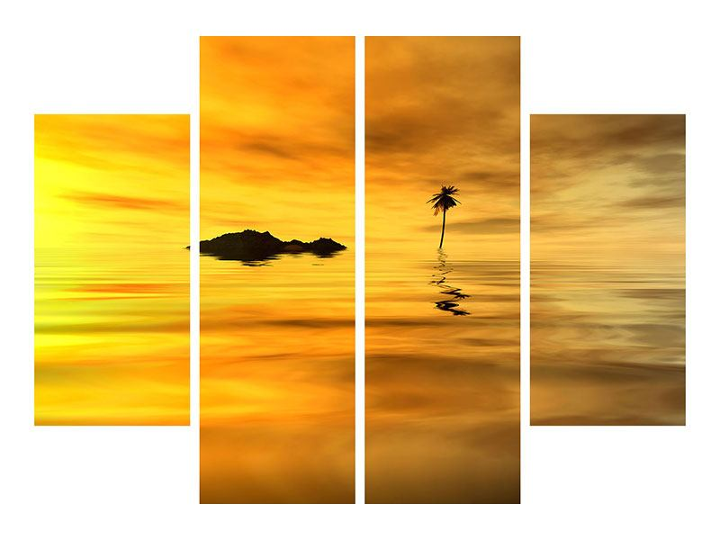 Metallic-Bild 4-teilig Ab auf die Insel