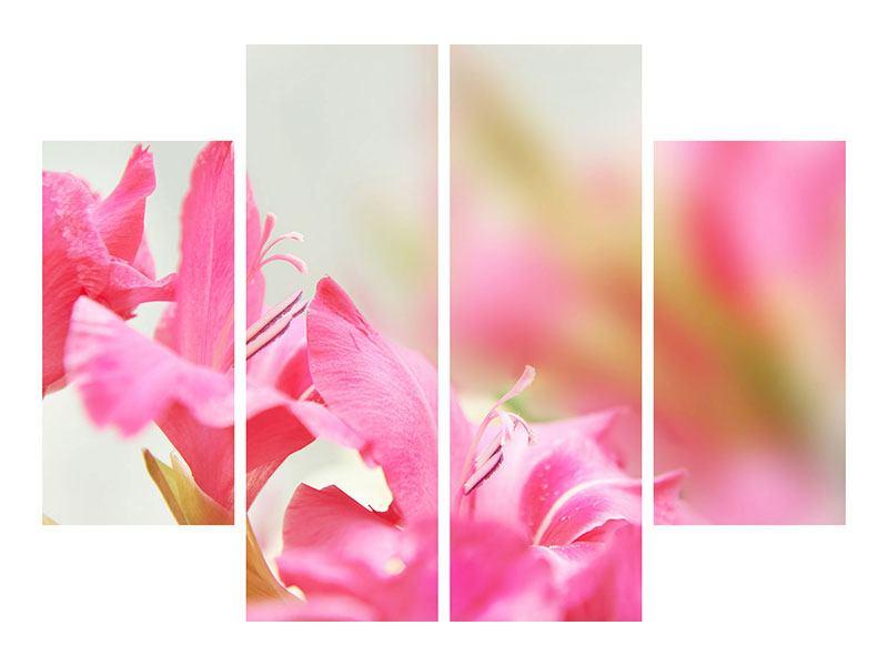 Metallic-Bild 4-teilig Gladiolen