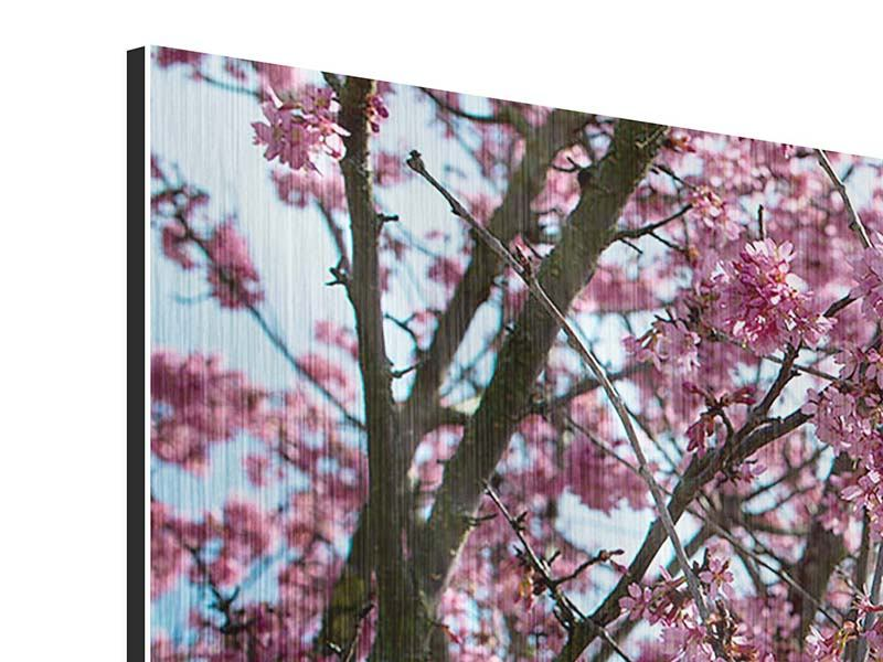 Metallic-Bild 4-teilig Japanische Blütenkirsche
