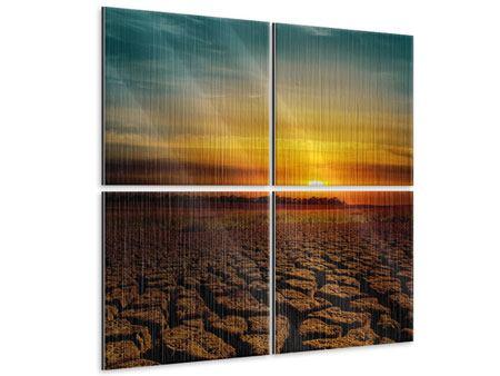 Metallic-Bild 4-teilig Afrikas Dürre