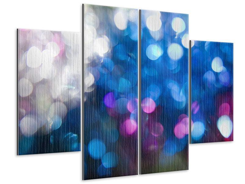Metallic-Bild 4-teilig Abstraktes Licht