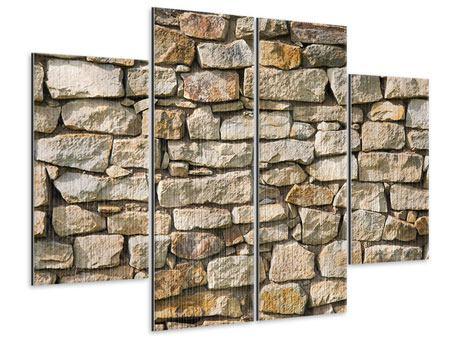 Metallic-Bild 4-teilig Natursteine
