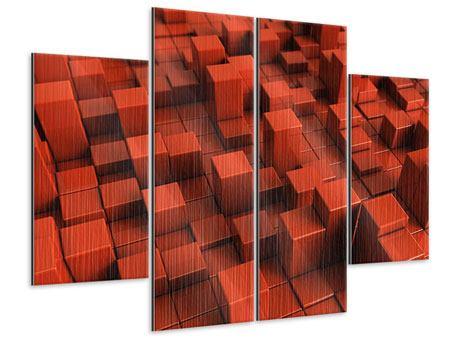 Metallic-Bild 4-teilig 3D-Rechtkant