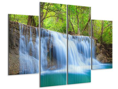 Metallic-Bild 4-teilig Wasserfall Si Nakharin