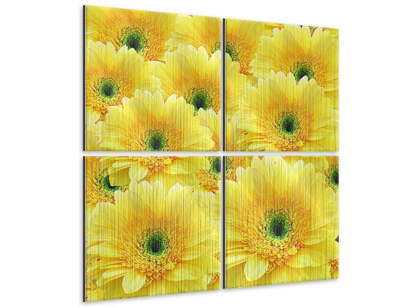Metallic-Bild 4-teilig Flower Power Blumen