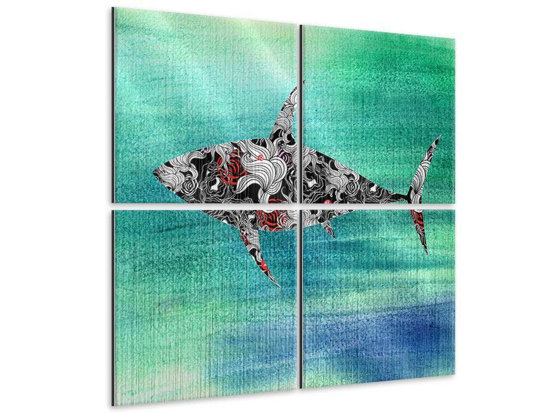 Metallic-Bild 4-teilig Haifisch-Ornament