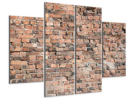 Metallic-Bild 4-teilig Alte Backsteinmauer