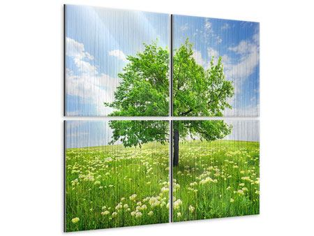 Metallic-Bild 4-teilig Der Baum