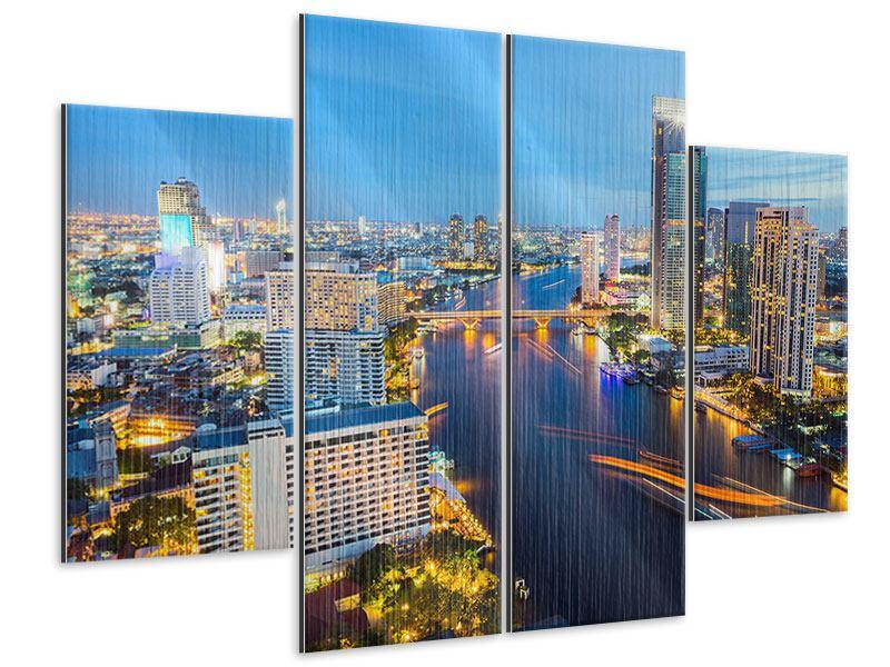 Metallic-Bild 4-teilig Skyline Bangkok bei Sonnenuntergang