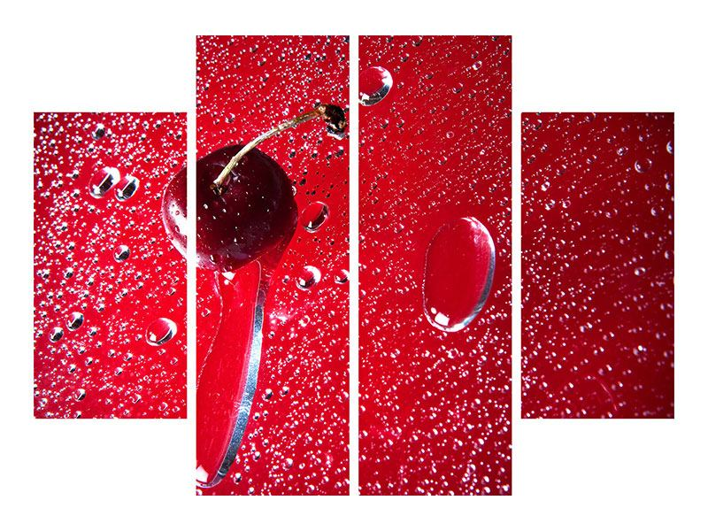 Metallic-Bild 4-teilig Die Kirsche