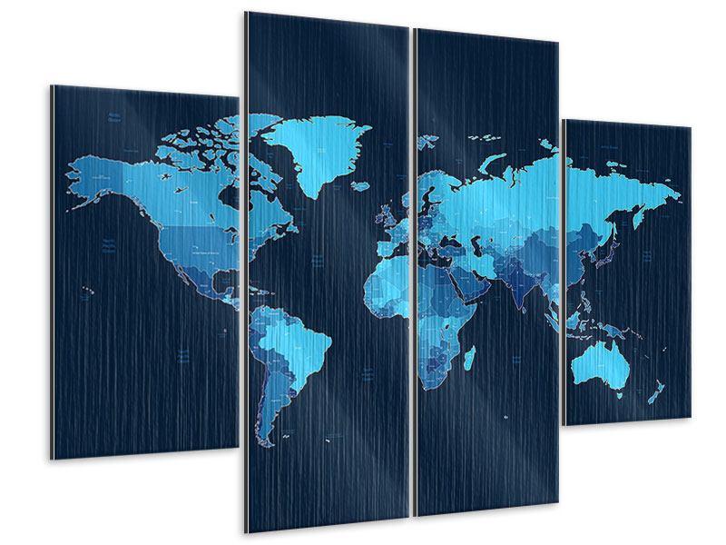 Metallic-Bild 4-teilig Weltkarte