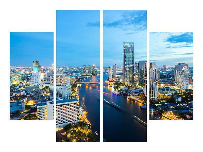 Metallic-Bild 4-teilig Skyline Bangkok in der Abenddämmerung