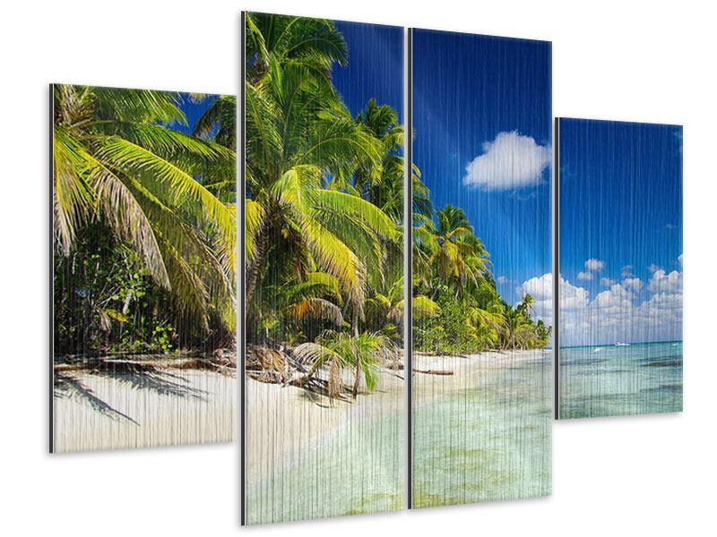 Metallic-Bild 4-teilig Die einsame Insel
