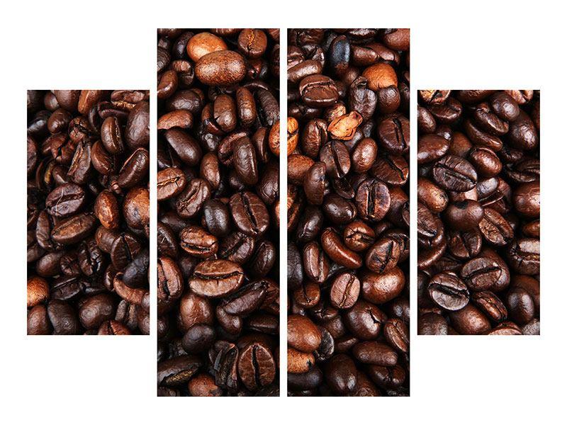 Metallic-Bild 4-teilig Kaffeebohnen in XXL