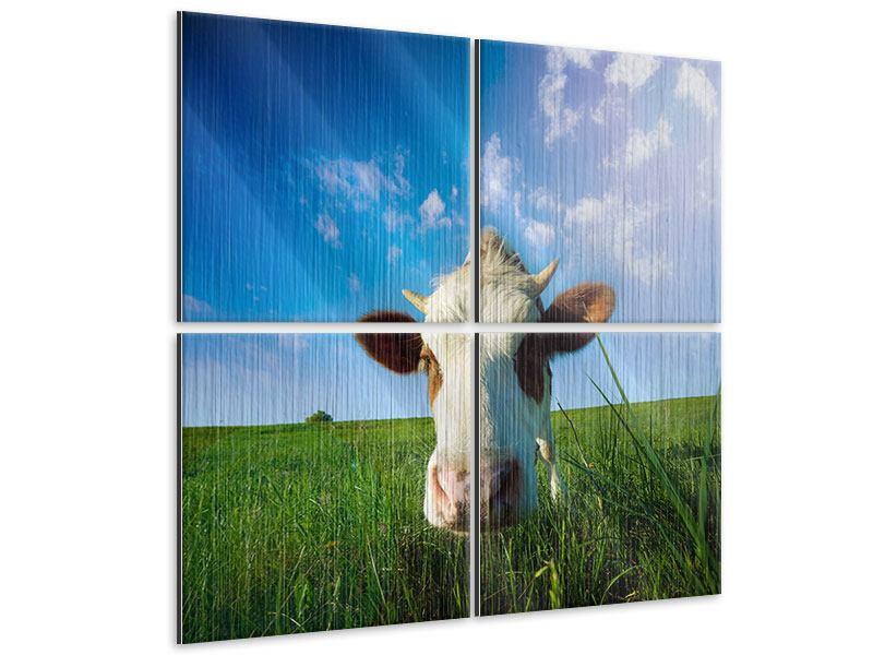 Metallic-Bild 4-teilig Die Kuh