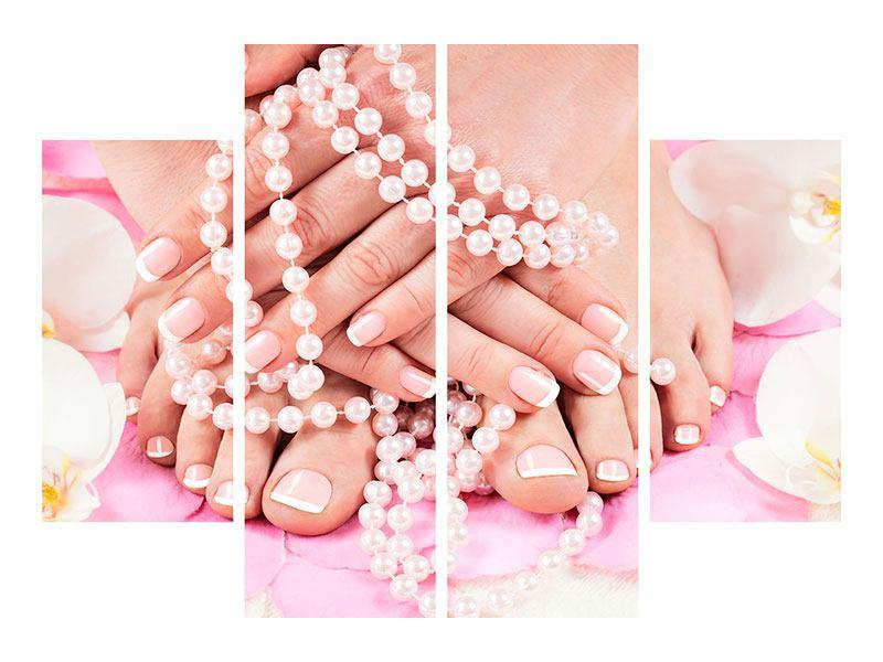 Metallic-Bild 4-teilig Hände und Füsse