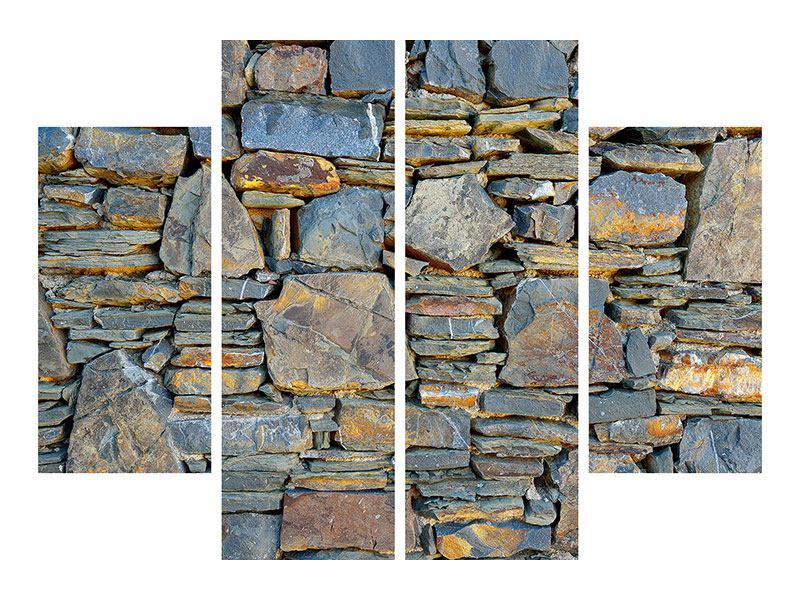 Metallic-Bild 4-teilig Natürliche Steinmauer
