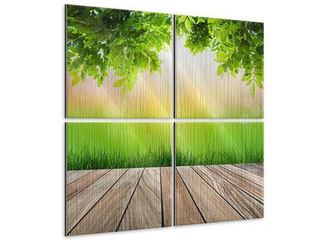 Metallic-Bild 4-teilig Gartenterrasse
