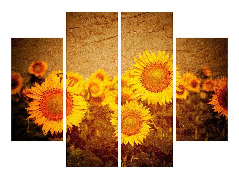 Metallic-Bild 4-teilig Retro-Sonnenblumen