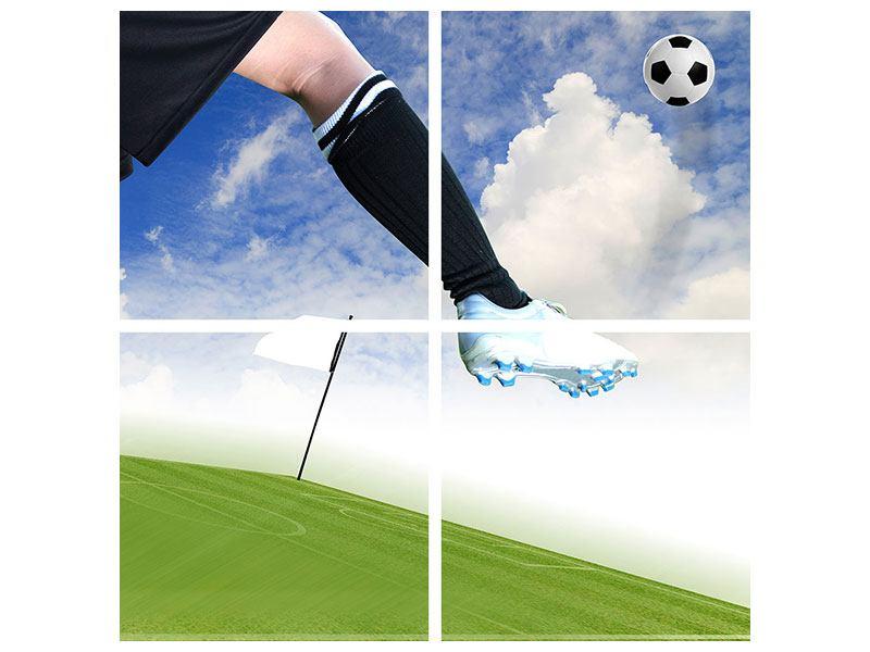 Metallic-Bild 4-teilig Fussball-Kicker
