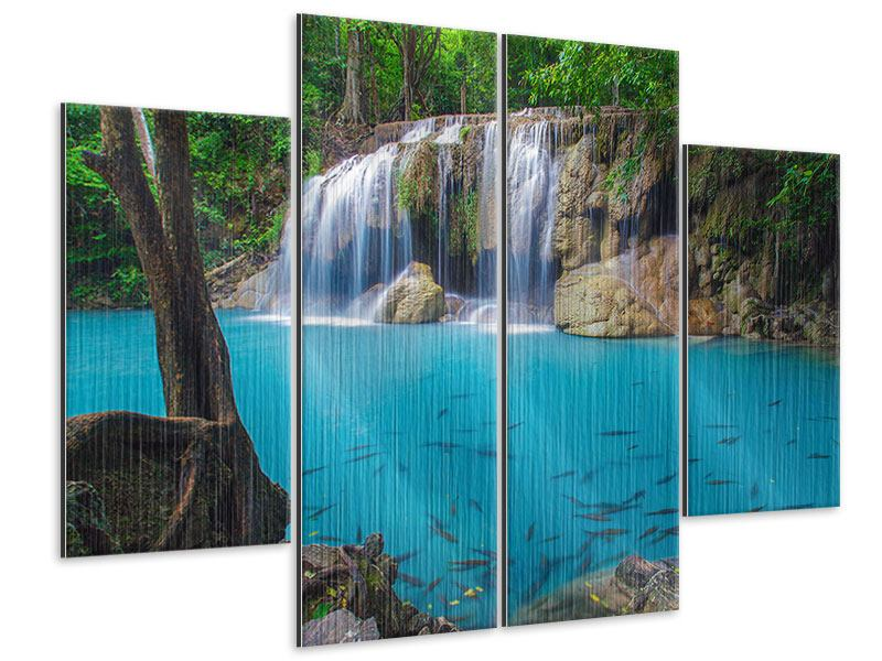 Metallic-Bild 4-teilig Naturerlebnis Wasserfall