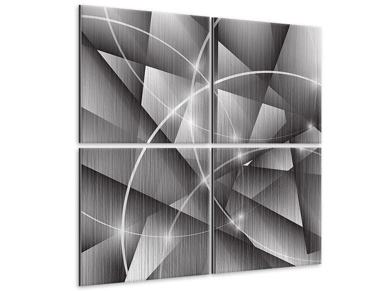 Metallic-Bild 4-teilig Geometrie