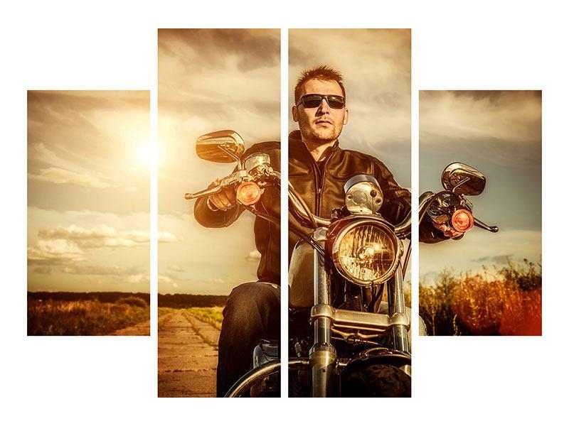 Metallic-Bild 4-teilig Der Coole Biker