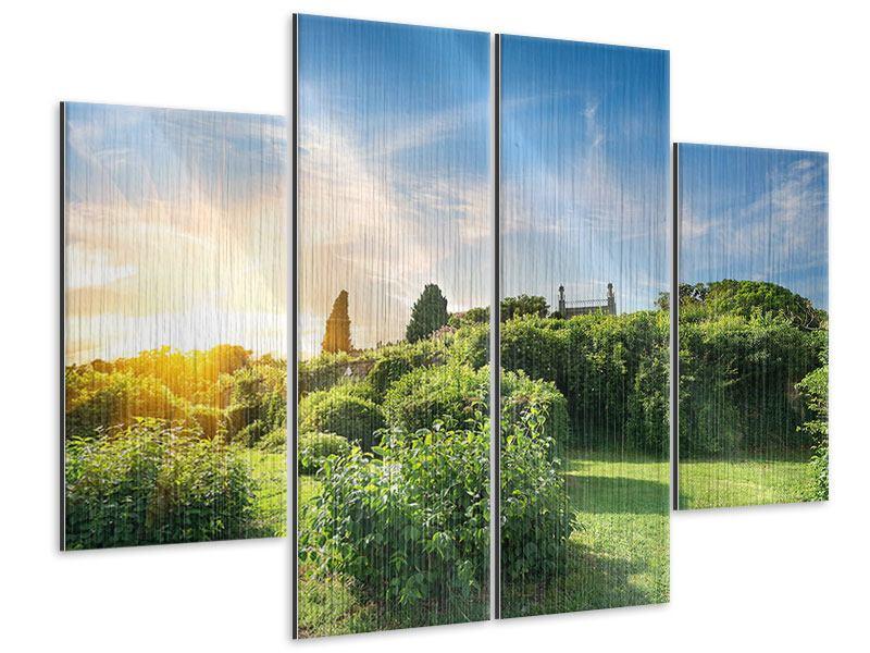 Metallic-Bild 4-teilig Sonnenaufgang im Park